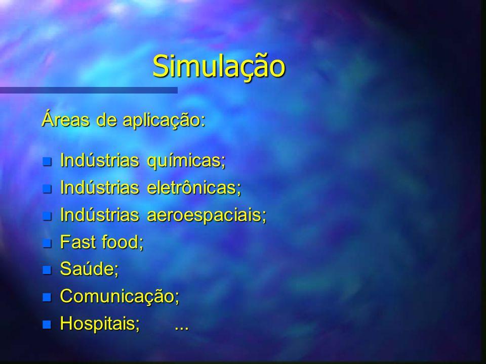 Simulação Áreas de aplicação: Indústrias químicas;