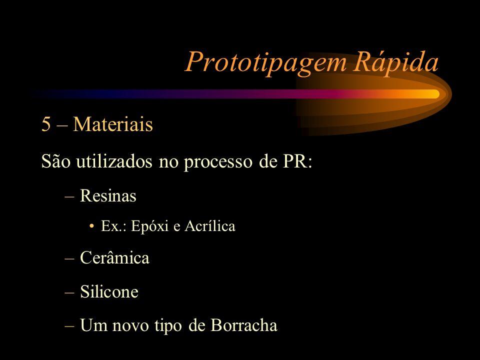 Prototipagem Rápida 5 – Materiais São utilizados no processo de PR: