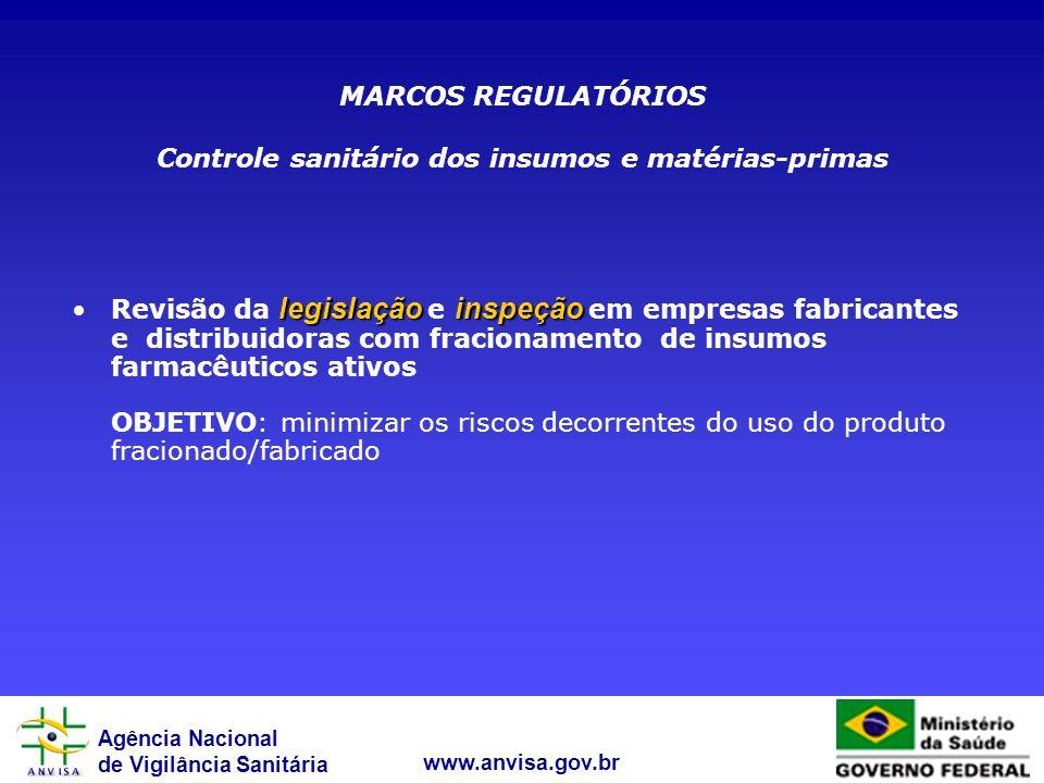 Controle sanitário dos insumos e matérias-primas