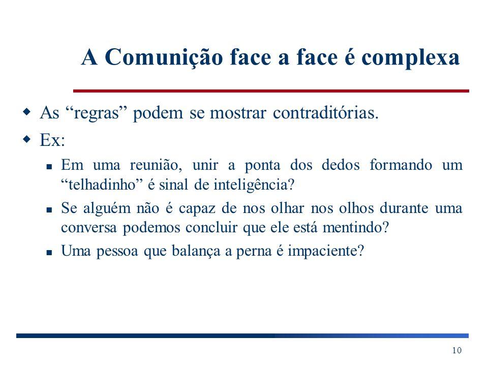 A Comunição face a face é complexa