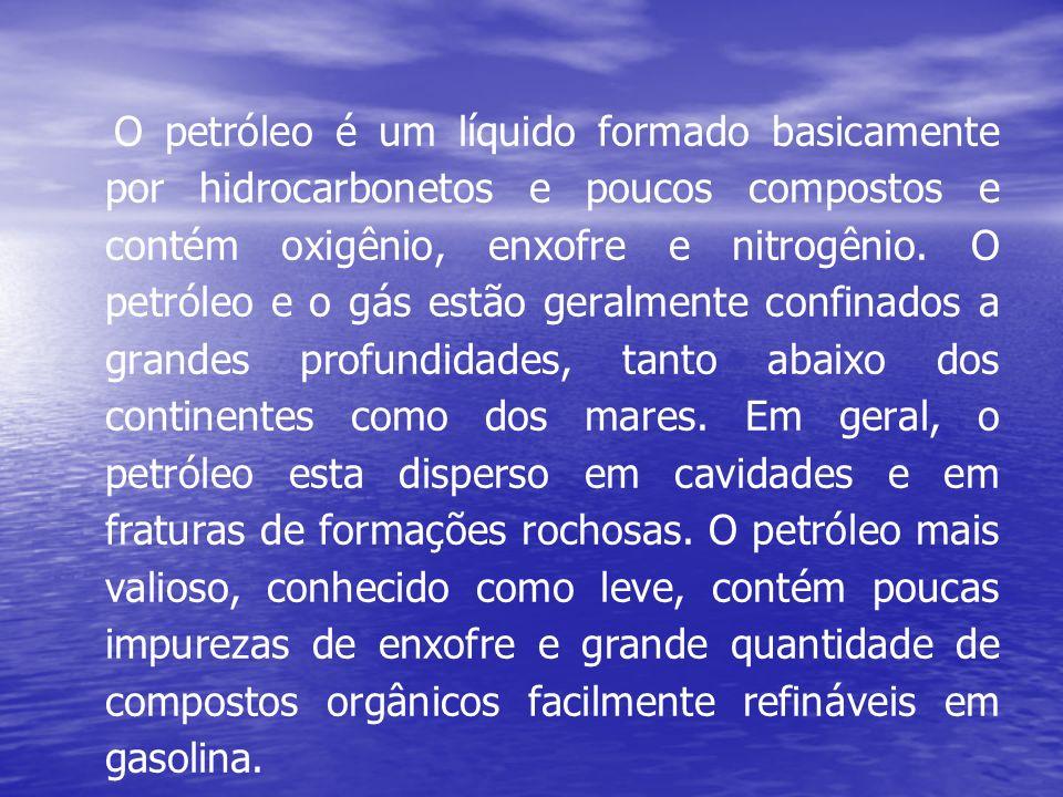 O petróleo é um líquido formado basicamente por hidrocarbonetos e poucos compostos e contém oxigênio, enxofre e nitrogênio.