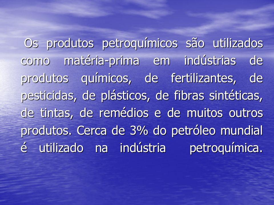 Os produtos petroquímicos são utilizados como matéria-prima em indústrias de produtos químicos, de fertilizantes, de pesticidas, de plásticos, de fibras sintéticas, de tintas, de remédios e de muitos outros produtos.