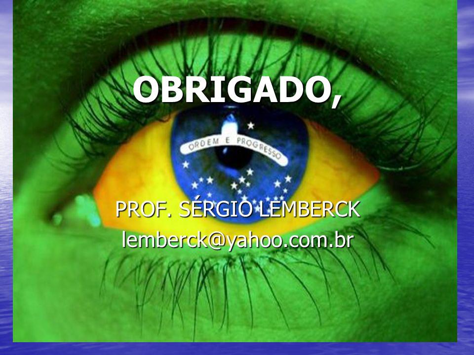 OBRIGADO, PROF. SÉRGIO LEMBERCK lemberck@yahoo.com.br