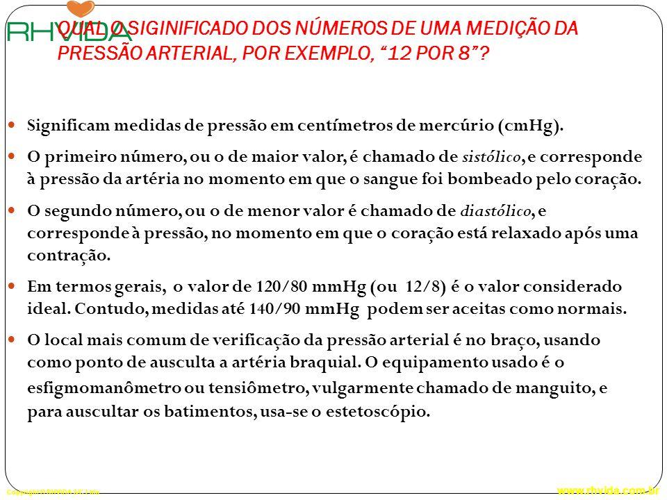 QUAL O SIGINIFICADO DOS NÚMEROS DE UMA MEDIÇÃO DA PRESSÃO ARTERIAL, POR EXEMPLO, 12 POR 8