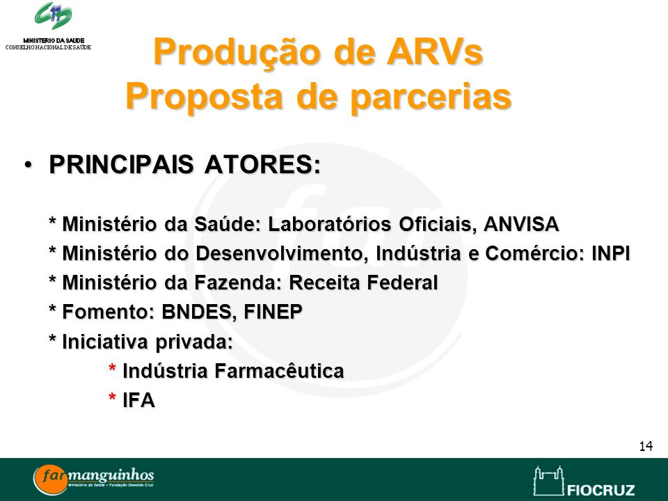 Produção de ARVs Proposta de parcerias