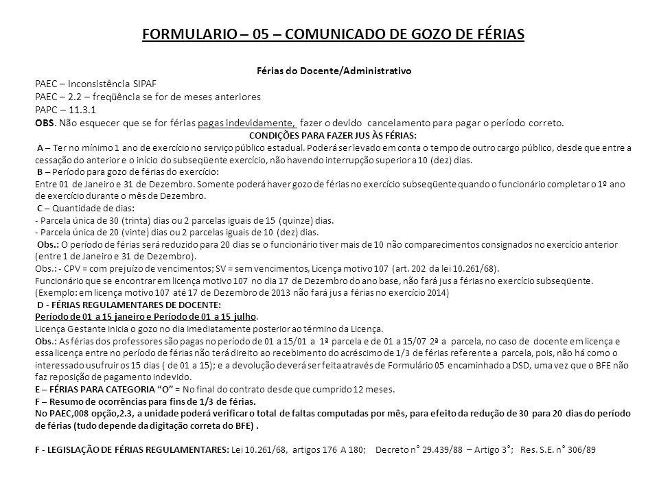 FORMULARIO – 05 – COMUNICADO DE GOZO DE FÉRIAS