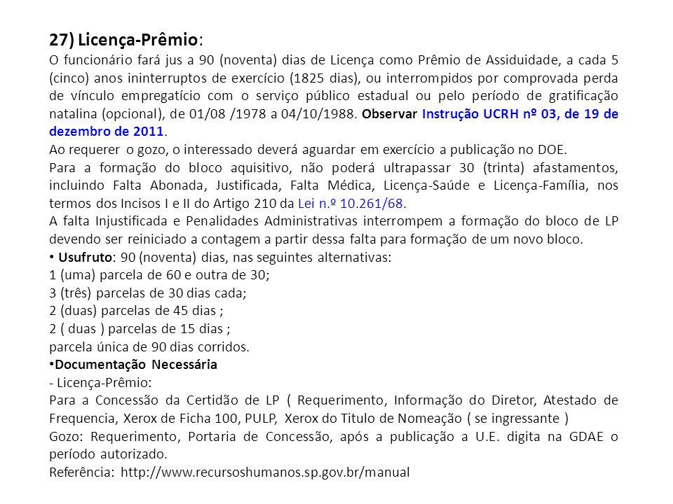 27) Licença-Prêmio: