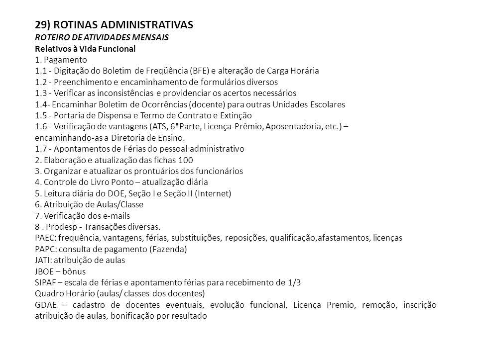 29) ROTINAS ADMINISTRATIVAS