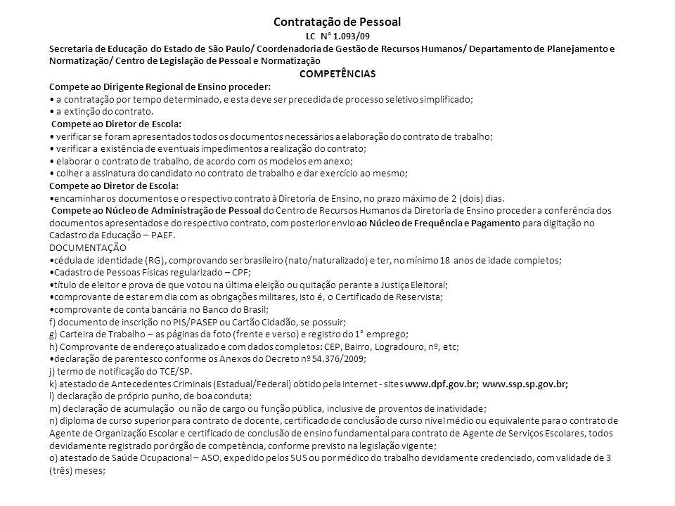 Contratação de Pessoal LC N° 1.093/09
