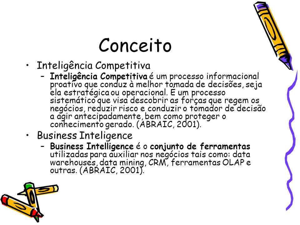 Conceito Inteligência Competitiva Business Inteligence