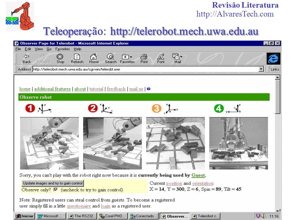 Teleoperação: http://telerobot.mech.uwa.edu.au