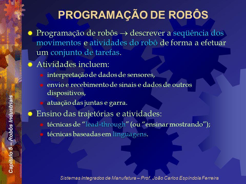 PROGRAMAÇÃO DE ROBÔS Programação de robôs  descrever a seqüência dos movimentos e atividades do robô de forma a efetuar um conjunto de tarefas.