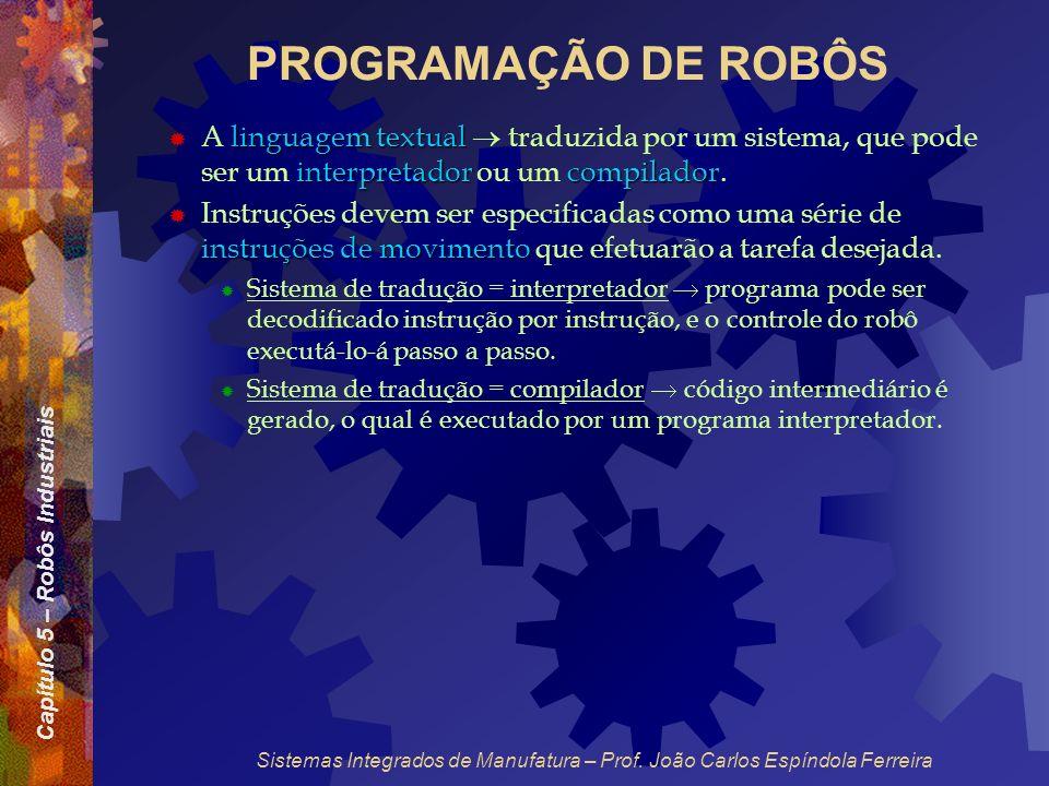 PROGRAMAÇÃO DE ROBÔS A linguagem textual  traduzida por um sistema, que pode ser um interpretador ou um compilador.