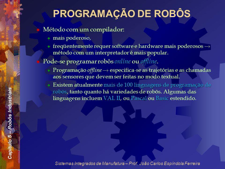 PROGRAMAÇÃO DE ROBÔS Método com um compilador: