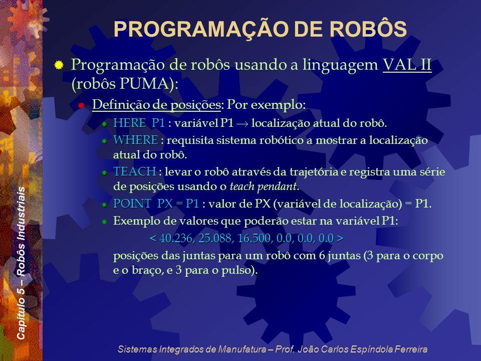 PROGRAMAÇÃO DE ROBÔS Programação de robôs usando a linguagem VAL II (robôs PUMA): Definição de posições: Por exemplo: