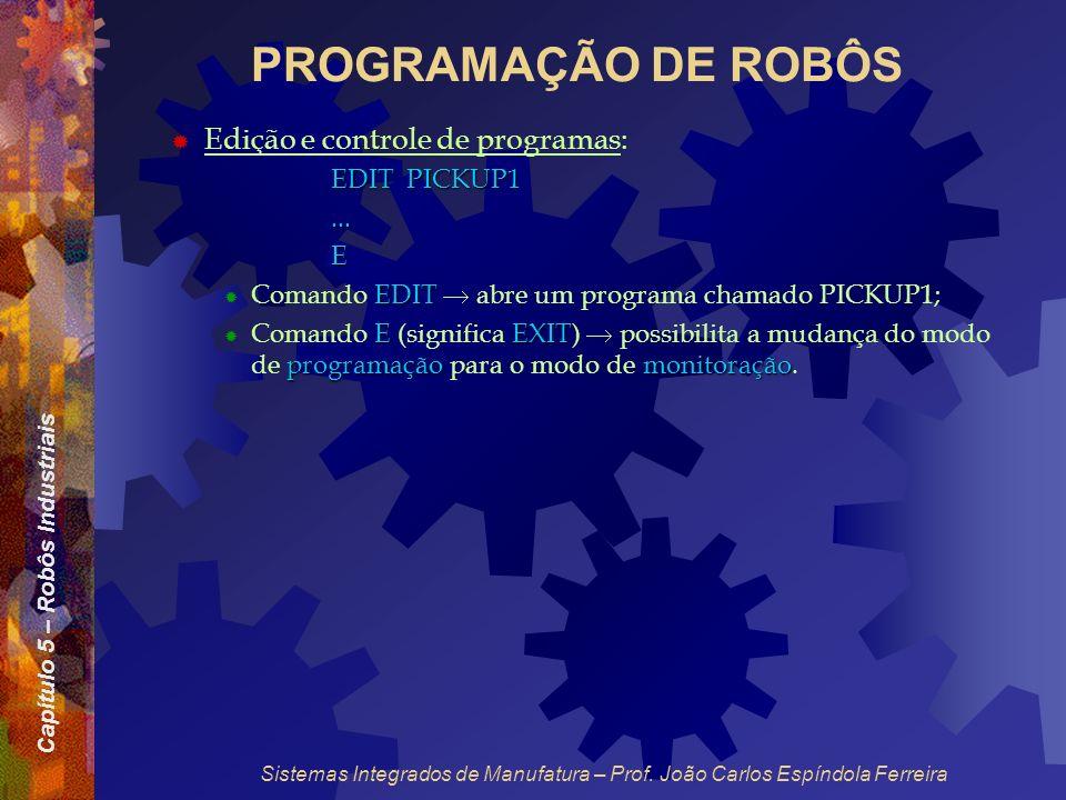 PROGRAMAÇÃO DE ROBÔS Edição e controle de programas: EDIT PICKUP1 ...