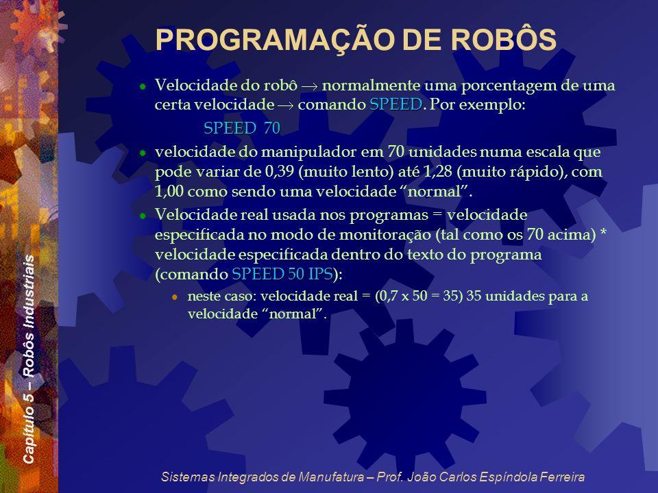 PROGRAMAÇÃO DE ROBÔS Velocidade do robô  normalmente uma porcentagem de uma certa velocidade  comando SPEED. Por exemplo:
