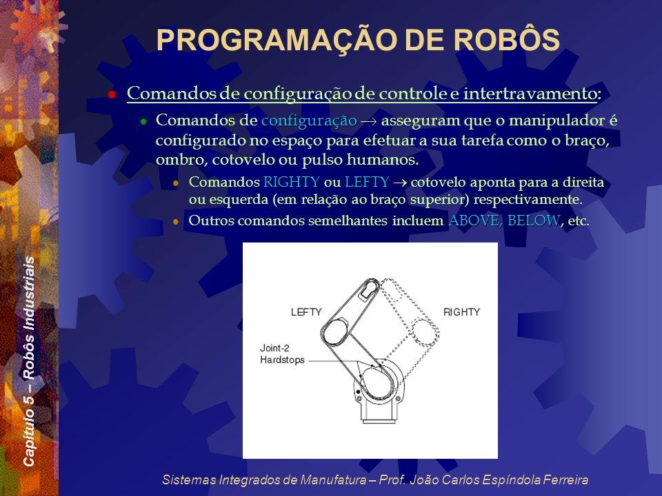 PROGRAMAÇÃO DE ROBÔS Comandos de configuração de controle e intertravamento: