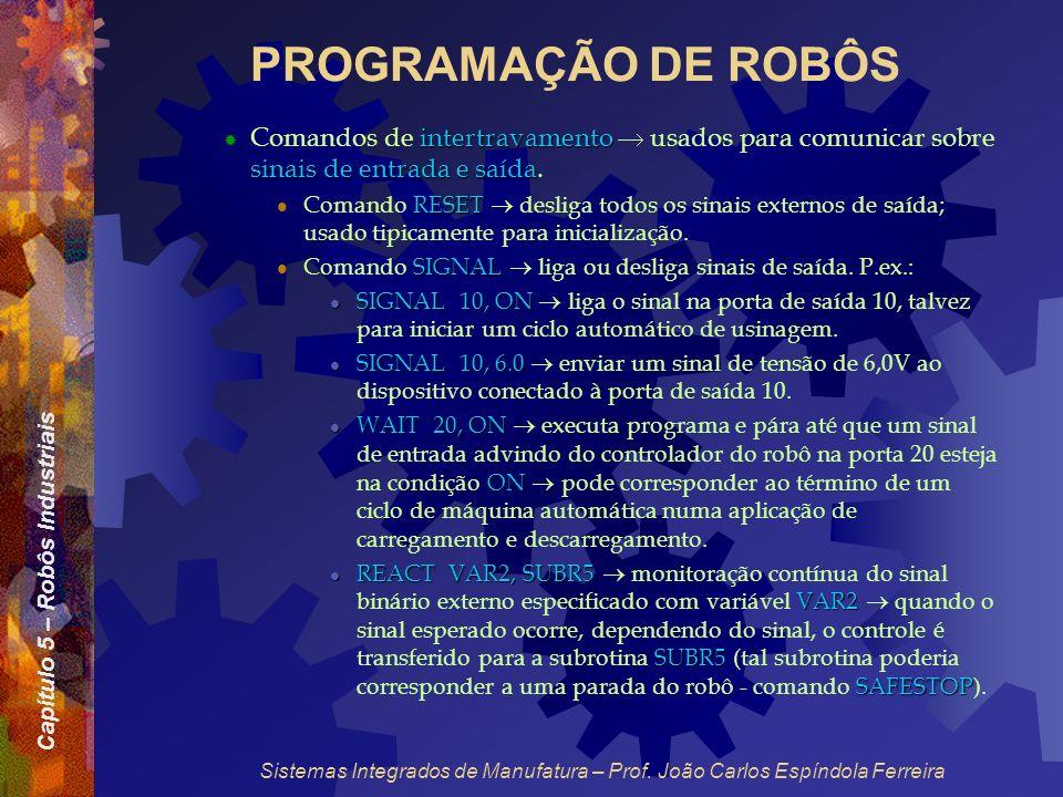 PROGRAMAÇÃO DE ROBÔS Comandos de intertravamento  usados para comunicar sobre sinais de entrada e saída.