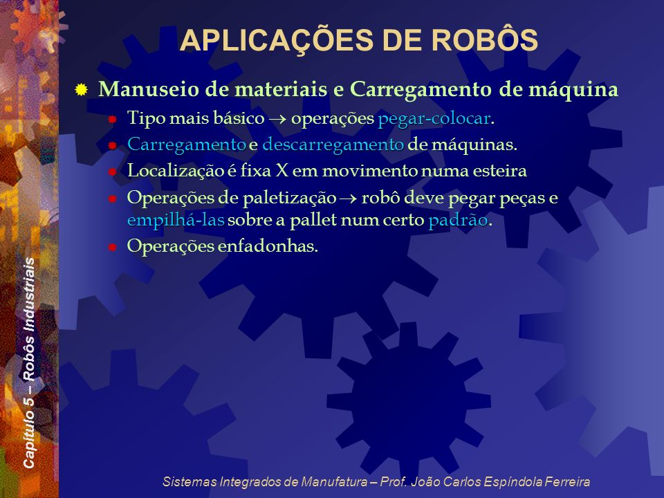 APLICAÇÕES DE ROBÔS Manuseio de materiais e Carregamento de máquina