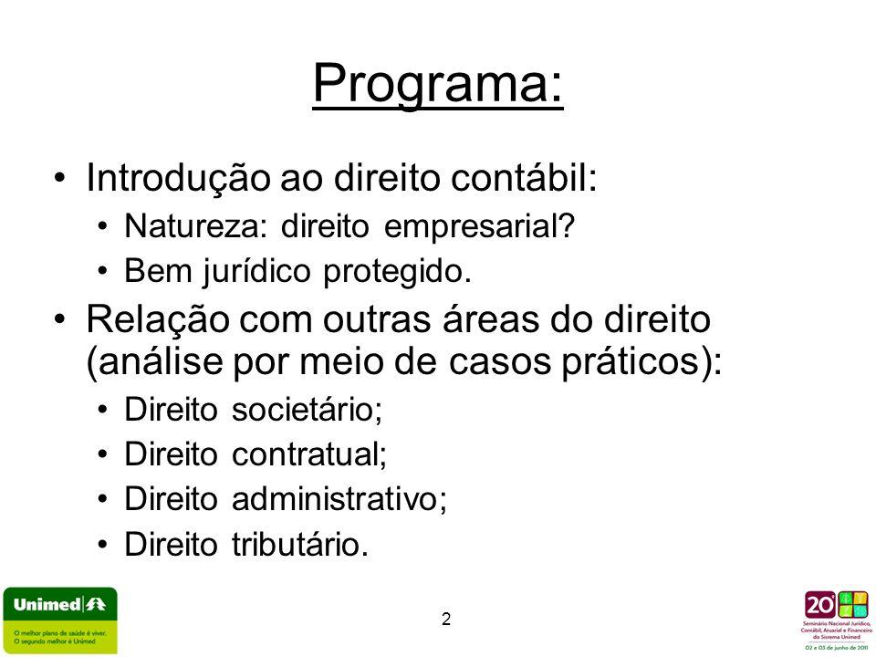 Programa: Introdução ao direito contábil: