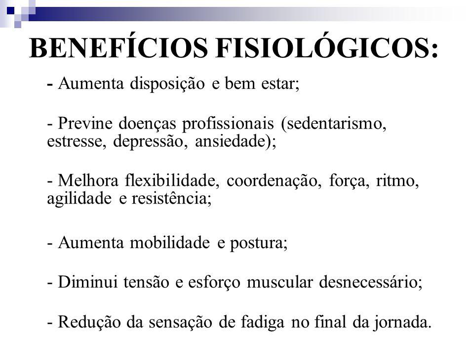 BENEFÍCIOS FISIOLÓGICOS: