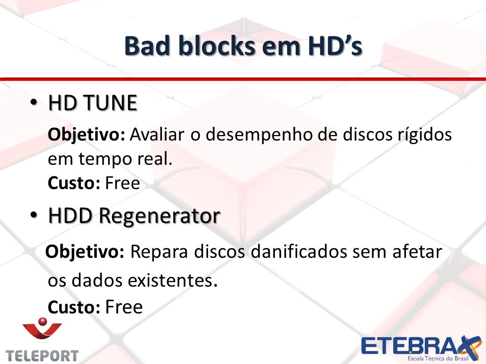 Bad blocks em HD's HD TUNE HDD Regenerator