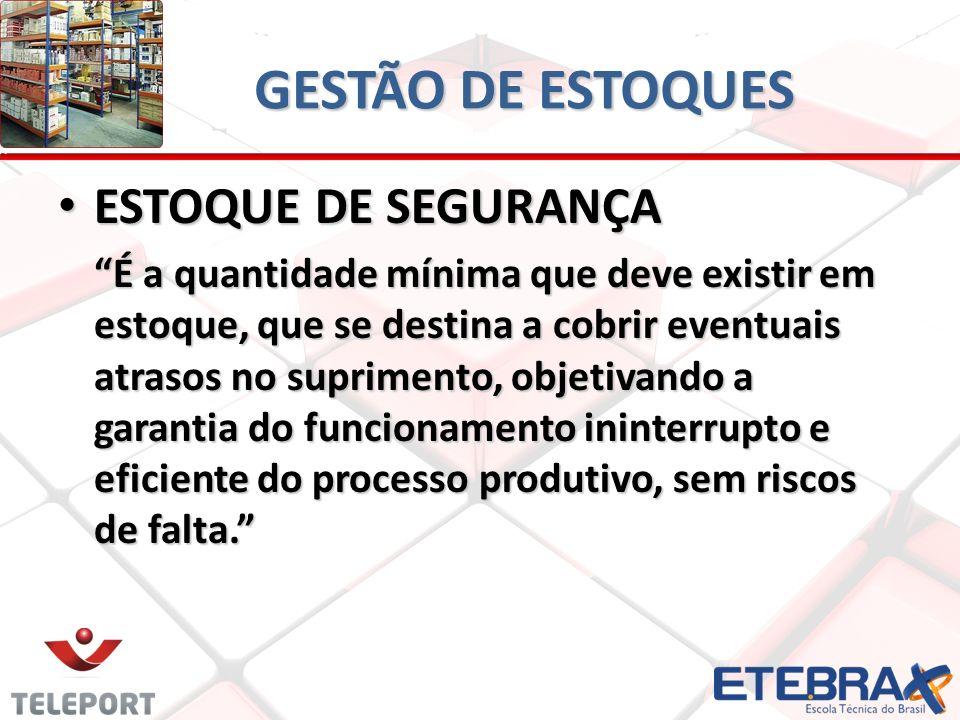 GESTÃO DE ESTOQUES ESTOQUE DE SEGURANÇA