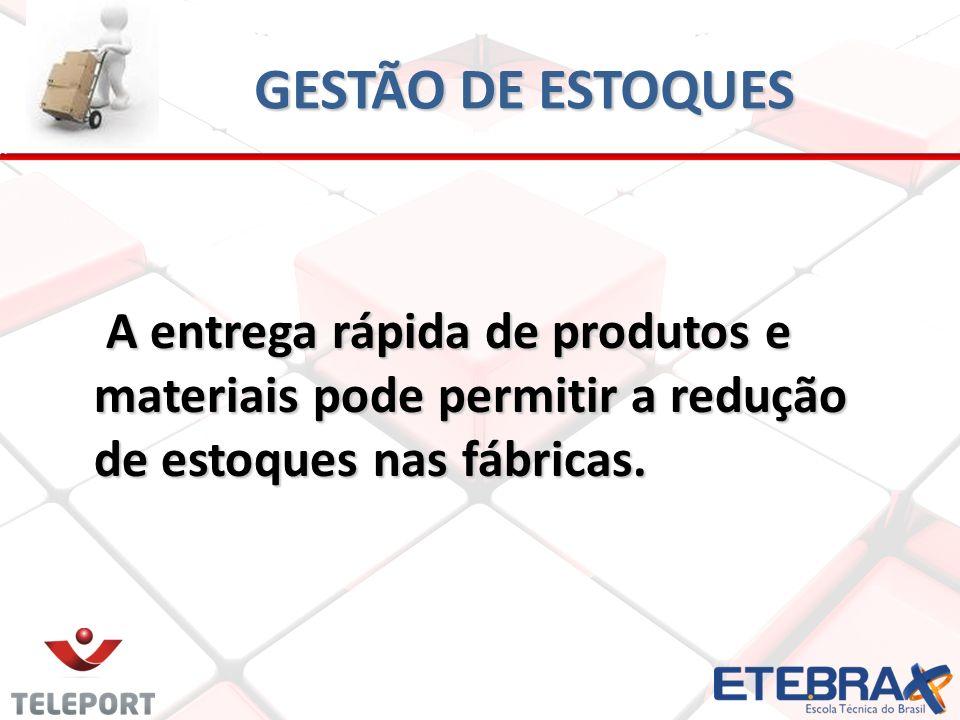 GESTÃO DE ESTOQUES A entrega rápida de produtos e materiais pode permitir a redução de estoques nas fábricas.