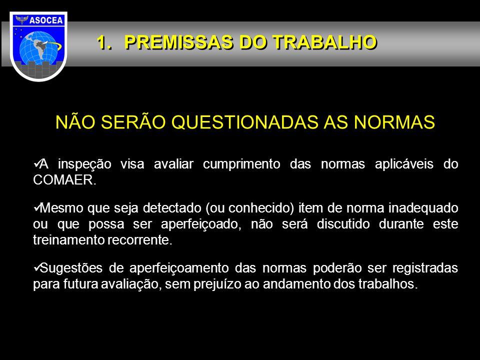 NÃO SERÃO QUESTIONADAS AS NORMAS