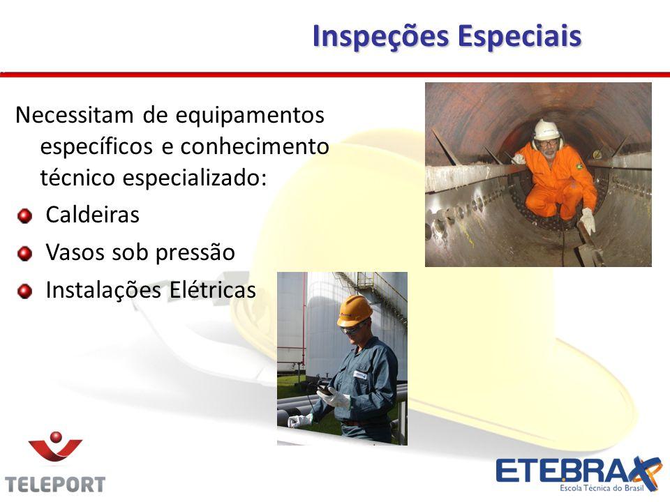 Inspeções EspeciaisNecessitam de equipamentos específicos e conhecimento técnico especializado: Caldeiras.