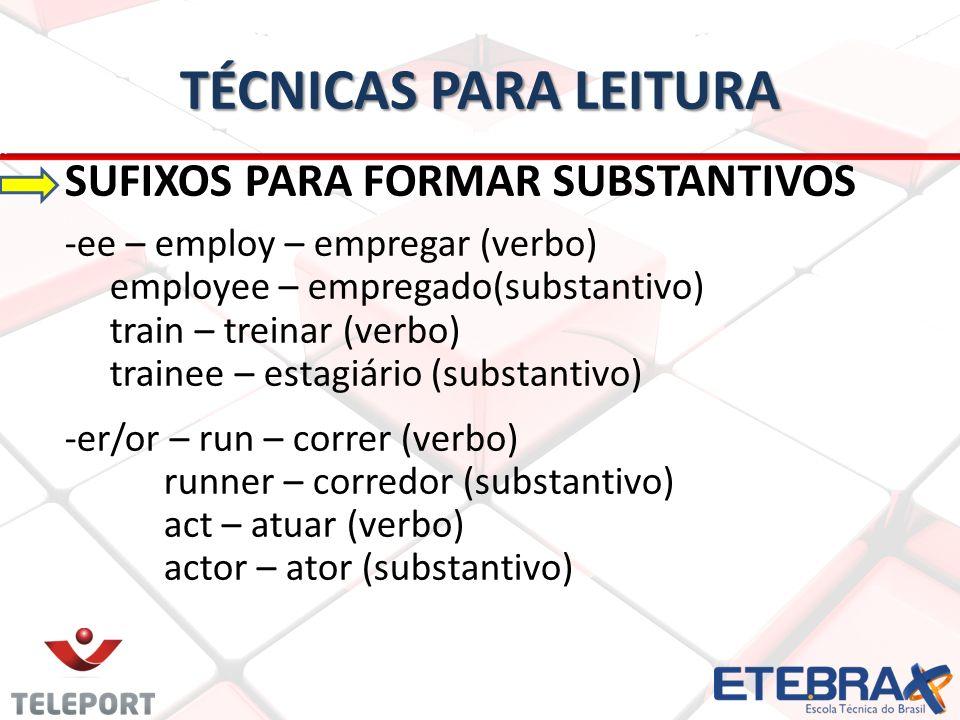 TÉCNICAS PARA LEITURA SUFIXOS PARA FORMAR SUBSTANTIVOS