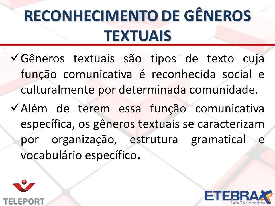 RECONHECIMENTO DE GÊNEROS TEXTUAIS
