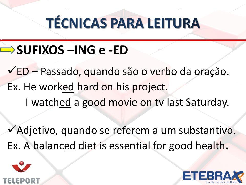 TÉCNICAS PARA LEITURA SUFIXOS –ING e -ED