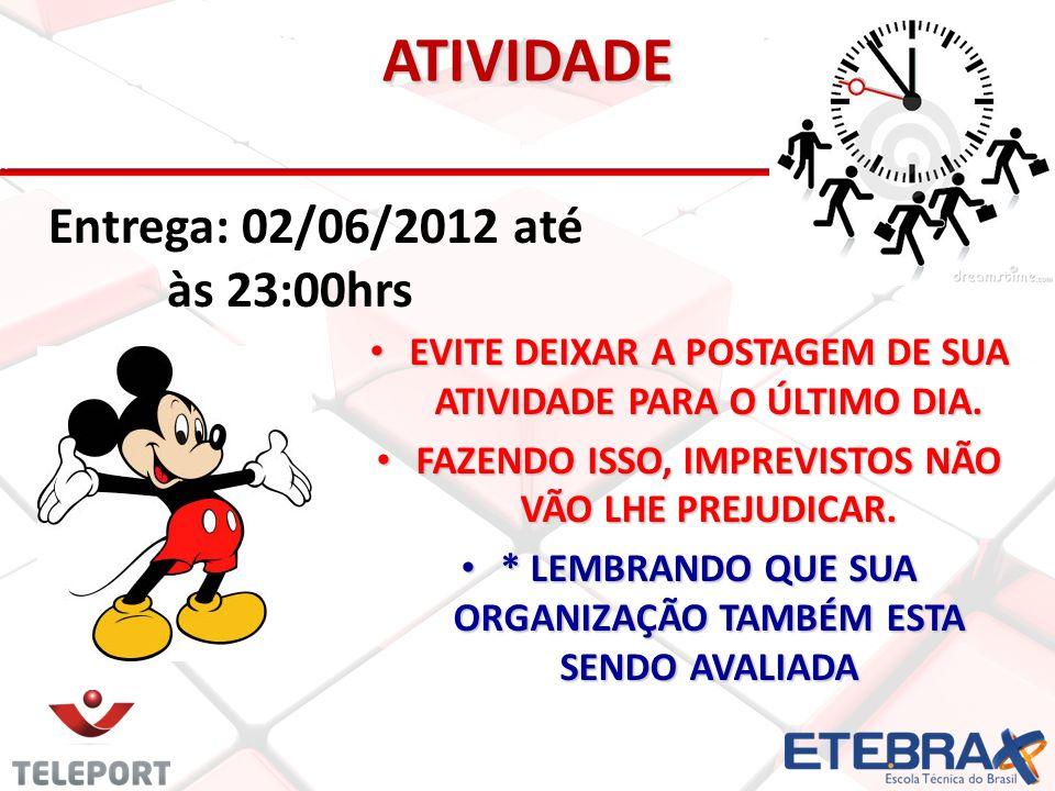 ATIVIDADE Entrega: 02/06/2012 até às 23:00hrs