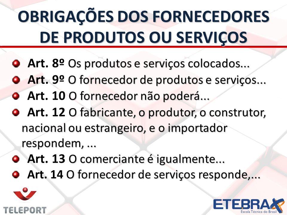 OBRIGAÇÕES DOS FORNECEDORES DE PRODUTOS OU SERVIÇOS