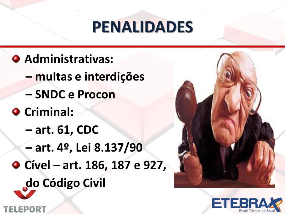 PENALIDADES Administrativas: – multas e interdições – SNDC e Procon
