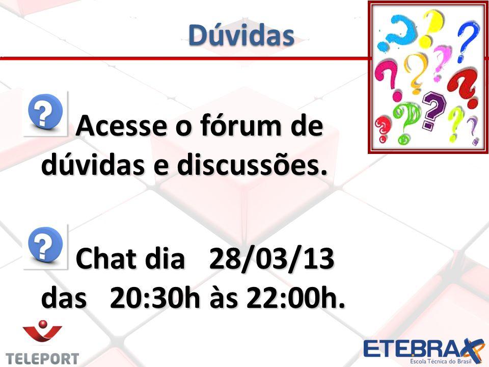 Dúvidas Acesse o fórum de dúvidas e discussões. Chat dia 28/03/13 das 20:30h às 22:00h.