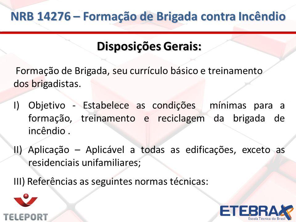 NRB 14276 – Formação de Brigada contra Incêndio