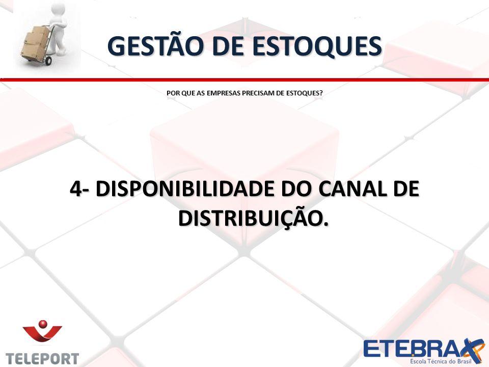 GESTÃO DE ESTOQUES 4- DISPONIBILIDADE DO CANAL DE DISTRIBUIÇÃO.