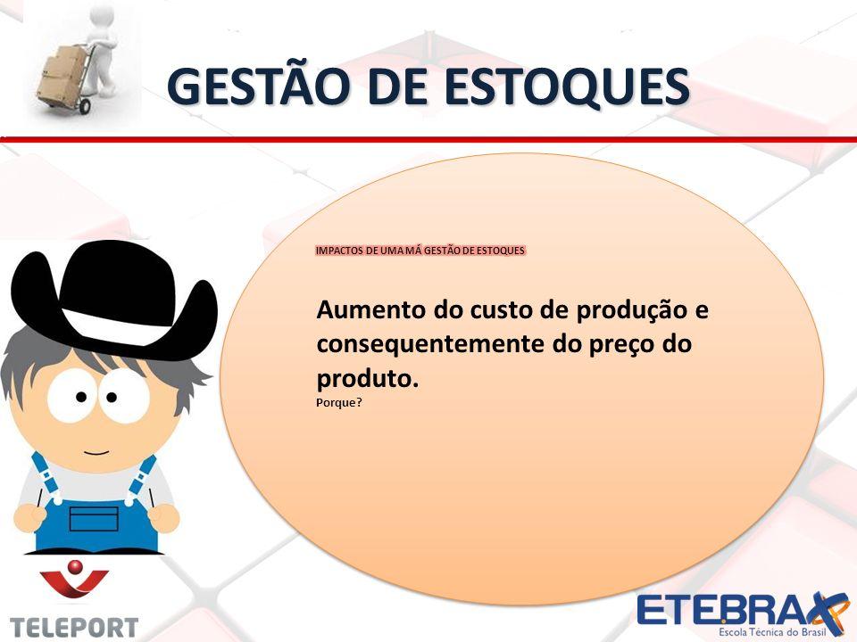 GESTÃO DE ESTOQUES IMPACTOS DE UMA MÁ GESTÃO DE ESTOQUES. Aumento do custo de produção e consequentemente do preço do produto.