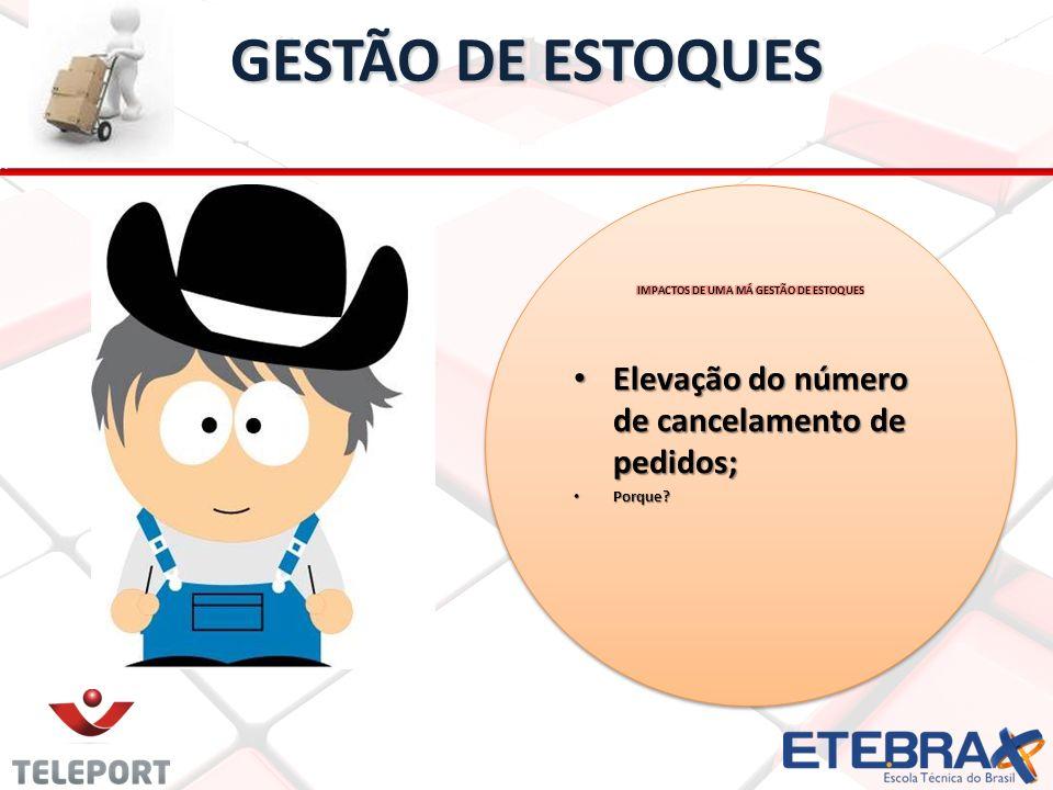 GESTÃO DE ESTOQUES Elevação do número de cancelamento de pedidos;