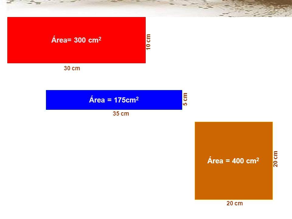 Área= 300 cm2 Área = 175cm2 Área = 400 cm2