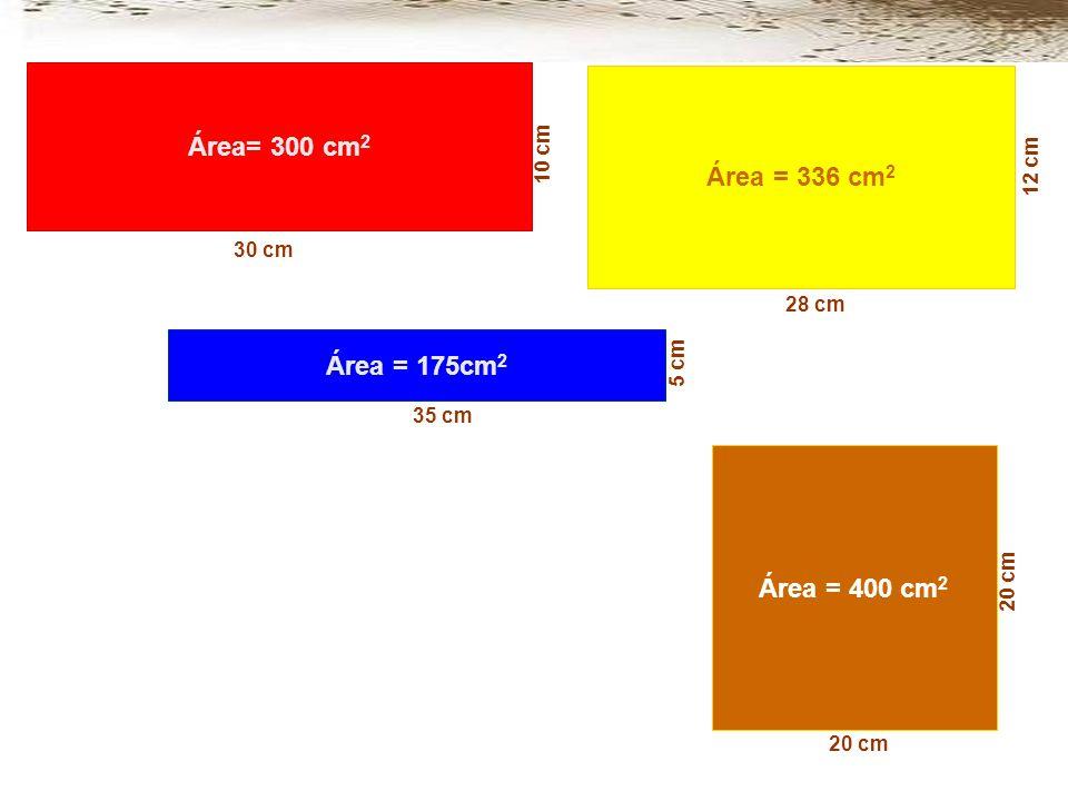 Área= 300 cm2 Área = 336 cm2 Área = 175cm2 Área = 400 cm2
