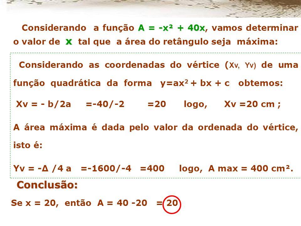 Considerando a função A = -x² + 40x, vamos determinar o valor de x tal que a área do retângulo seja máxima:
