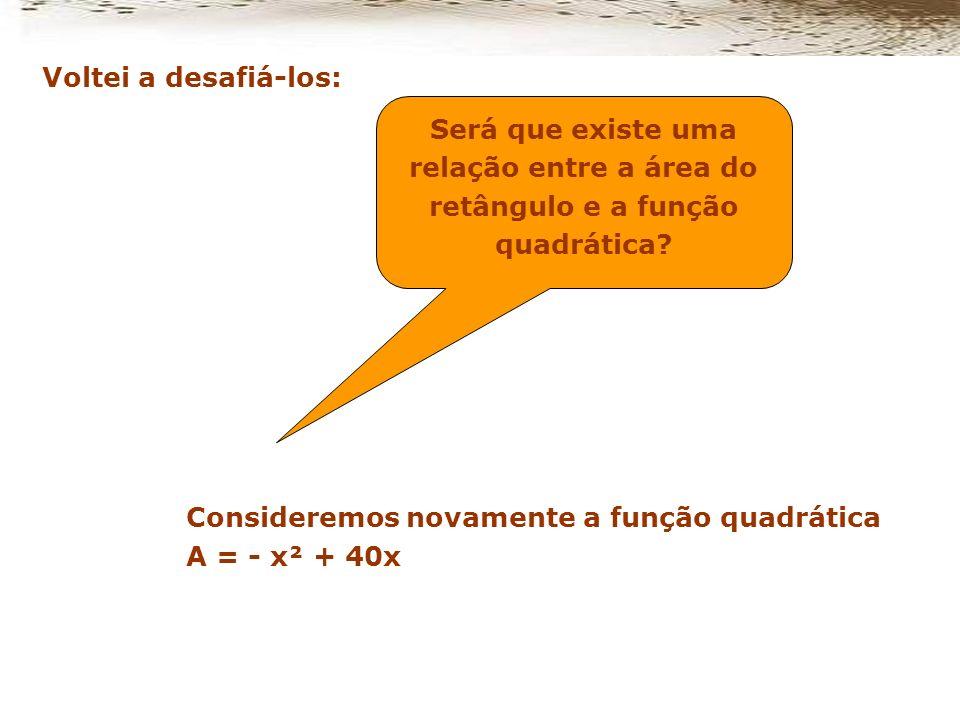 Voltei a desafiá-los: Será que existe uma relação entre a área do retângulo e a função quadrática Consideremos novamente a função quadrática.