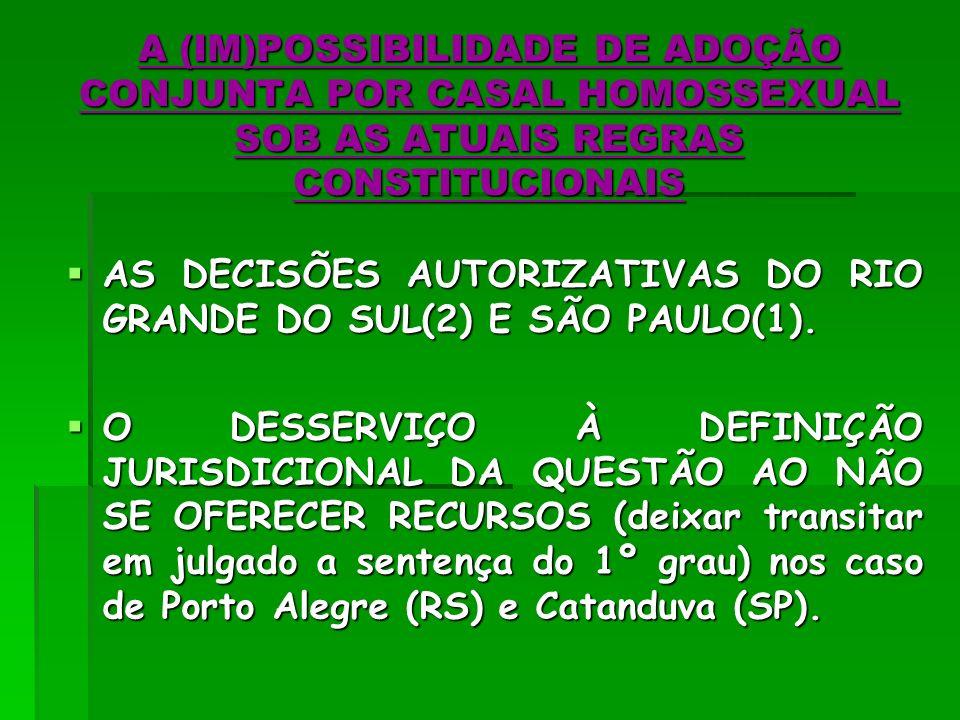 A (IM)POSSIBILIDADE DE ADOÇÃO CONJUNTA POR CASAL HOMOSSEXUAL SOB AS ATUAIS REGRAS CONSTITUCIONAIS
