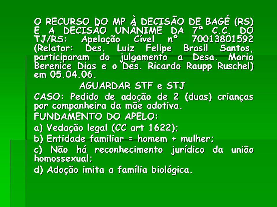 a) Vedação legal (CC art 1622); b) Entidade familiar = homem + mulher;