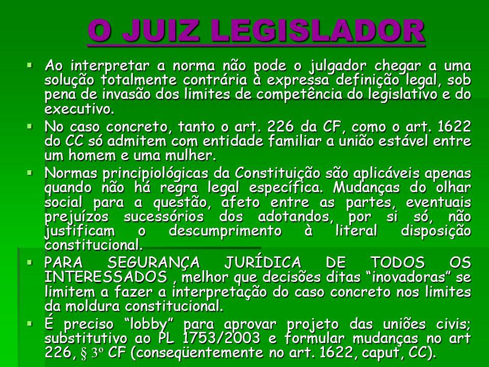 O JUIZ LEGISLADOR