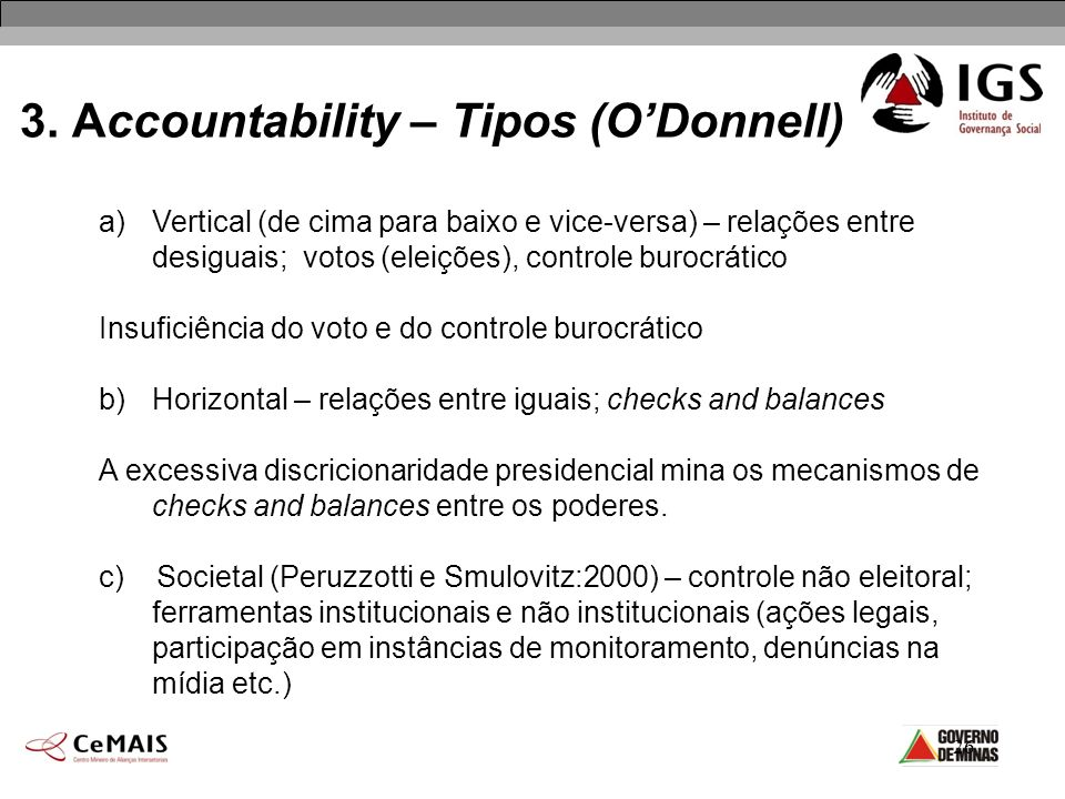 3. Accountability – Tipos (O'Donnell)